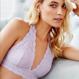 Free People Lace Halter Bralette Large NEW Lilac